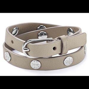 Tory Burch Double-Wrap Logo Stud Bracelet.